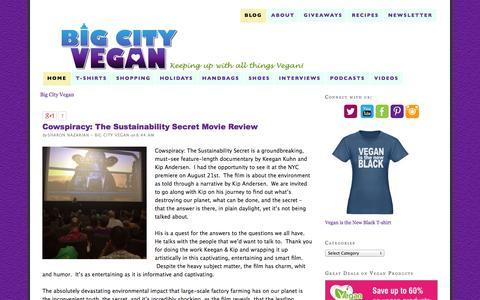 Screenshot of Blog bigcityvegan.com - Vegan t-shirts, Vegan Shoes, Vegan Recipes and Interviews from Big City Vegan - captured Sept. 19, 2014