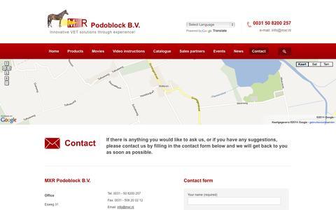 Screenshot of Contact Page podoblock.com - Contact - MXR Podoblock : MXR Podoblock - captured Oct. 4, 2014