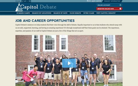 Screenshot of Jobs Page capitoldebate.com - Summer Jobs & Employment Opportunities | Capitol Debate - captured March 11, 2018