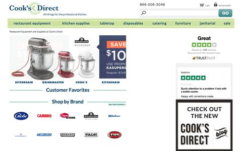 Screenshot of Home Page cooksdirect.com - Commercial Kitchen & Restaurant Equipment   CooksDirect.com - captured July 15, 2016