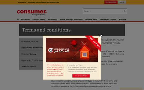 Screenshot of Terms Page consumer.org.nz - Terms and conditions - Consumer NZ - captured June 29, 2017