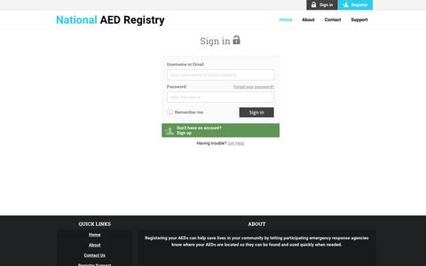 Screenshot of Login Page atrusinc.com - Log in - National AED Registry - captured July 31, 2018