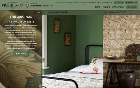Screenshot of Home Page william-morris.co.uk - The Original Morris & Co - Arts and crafts, fabrics and wallpaper designs by William Morris & Company | Home - a premier destination for inspirational design | British/UK Fabrics and Wallpapers - captured Jan. 23, 2015