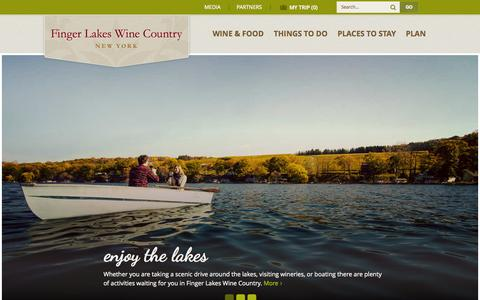Screenshot of Home Page fingerlakeswinecountry.com - Official Travel and Tourism Information for Finger Lakes Wine Country - captured Nov. 16, 2015