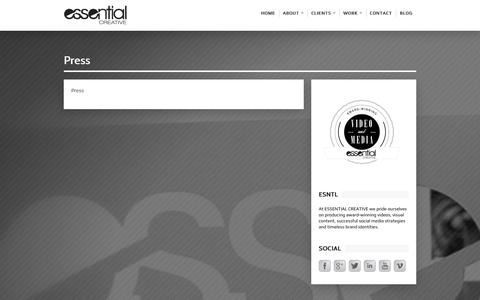 Screenshot of Press Page esntl.com - Essential Creative   Press - captured Oct. 3, 2014