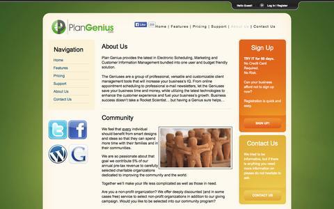 Screenshot of About Page plangenius.com - PlanGenius.com - About Us - captured Oct. 2, 2014
