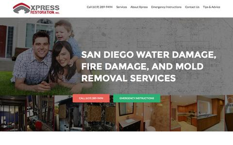 Screenshot of Home Page xpress-restoration.com - Xpress Restoration | San Diego Water Damage, Fire Damage, and Mold Removal Services | Xpress Restoration - captured June 17, 2015