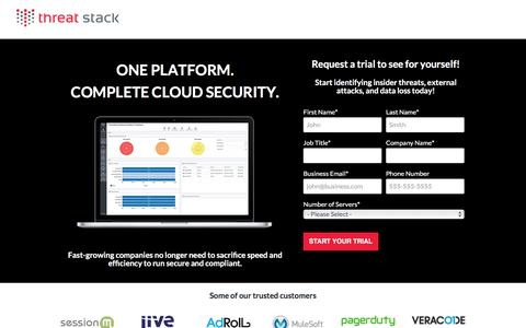 Screenshot of Trial Page threatstack.com - One Platform. Complete Cloud Security. - captured Nov. 18, 2016