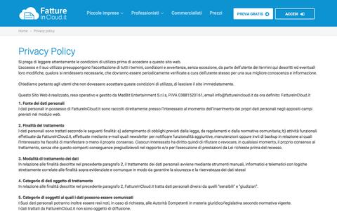 Screenshot of Privacy Page fattureincloud.it - Privacy policy | Fatture in Cloud - captured Aug. 3, 2016