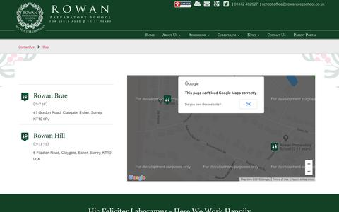 Screenshot of Maps & Directions Page rowanprepschool.co.uk - Rowan Preparatory School > Contact Us > Map - captured Oct. 25, 2018