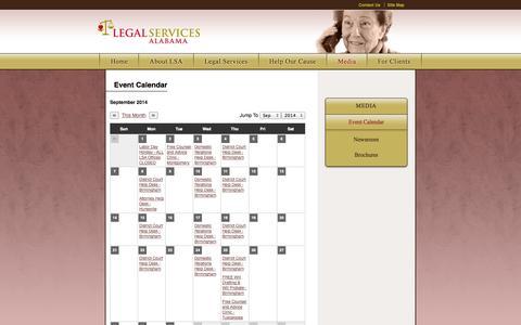 Screenshot of Press Page legalservicesalabama.org - Legal Services Alabama : Media : Event Calendar - captured Sept. 29, 2014