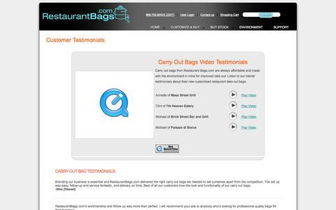 Screenshot of Testimonials Page restaurantbags.com - RestaurantBags.com Customer Testimonials - captured Oct. 8, 2014