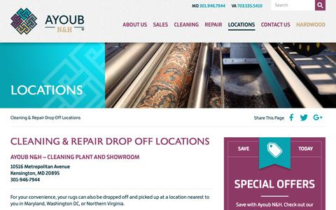 Screenshot of Locations Page furniturerugcleaning.com - Drop off rugs for cleaning or repair at one of our many locations in MD, DC & VA - captured Oct. 4, 2018