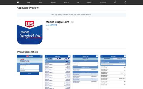Mobile SinglePoint on the AppStore