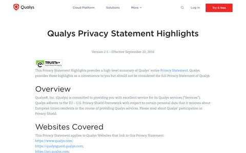 Qualys Privacy Statement Highlights
