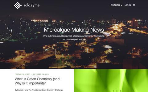 Screenshot of Press Page solazyme.com - Media | Solazyme - captured Oct. 28, 2014