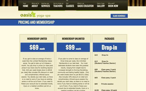 Screenshot of Pricing Page oasisyogaspa.com - Gentle Yoga, Hot Yoga Solon, Yoga Classes Cleveland OH - captured Sept. 19, 2014