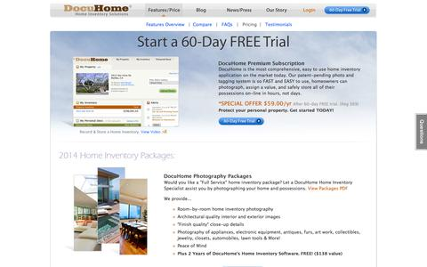 Screenshot of Pricing Page docuhome.com - Our Pricing : Home Inventory Software : Home Inventory Specialist : DocuHome.com - captured Sept. 30, 2014