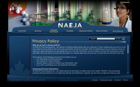 Screenshot of Privacy Page naeja.com - NAEJA - captured Oct. 7, 2014
