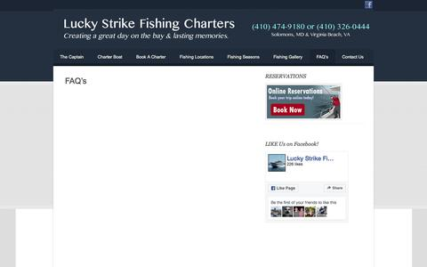 Screenshot of FAQ Page luckystrikefishingcharters.com - FAQ's | - captured June 22, 2016