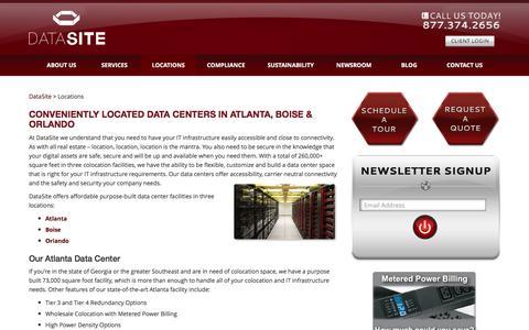 Screenshot of Locations Page datasitecolo.com - Data Center Locations   Colocation Atlanta, Boise Orlando - captured Nov. 23, 2016