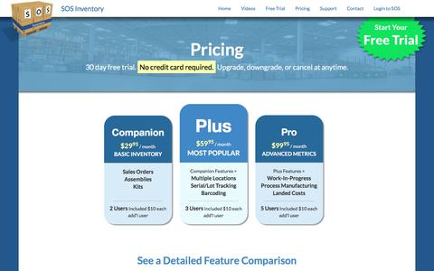 Screenshot of Pricing Page sosinventory.com - SOS Inventory - Pricing - SOS Inventory - captured June 29, 2017