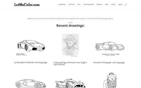 Screenshot of Home Page letmecolor.com - LetMeColor.com - Coloring Pages - captured Feb. 12, 2016