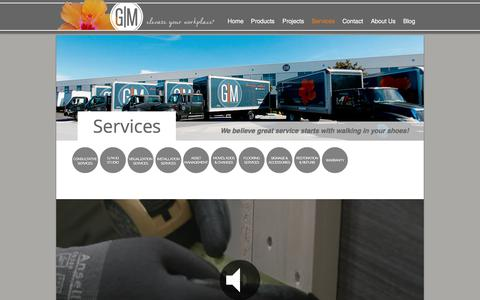 Screenshot of Services Page gmbi.net - G/M Business Interiors - Services - captured Sept. 25, 2018