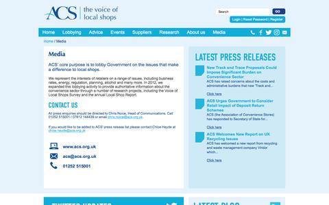 Screenshot of Press Page acs.org.uk - Media | ACS - captured Oct. 9, 2017