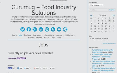 Screenshot of Jobs Page gurumug.com - Jobs - captured Oct. 4, 2014