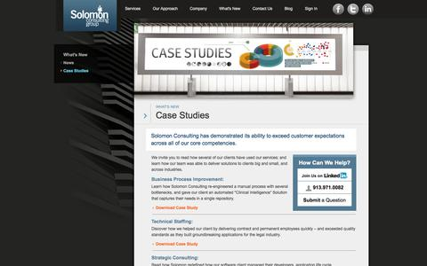 Screenshot of Case Studies Page solomonbi.com - Solomon Consulting Group :: Case Studies - captured Oct. 26, 2014