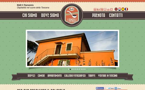 Screenshot of Home Page ilramaiolo.it - Il Ramaiolo - Bed and Breakfast Santa Maria a Monte (Pisa), Toscana - captured Oct. 1, 2014