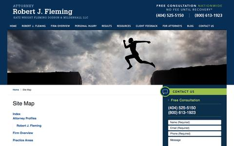 Screenshot of Site Map Page robertjfleming.com - Site Map :: Atlanta, Georgia Injury Lawyer Robert J. Fleming - captured Dec. 6, 2016