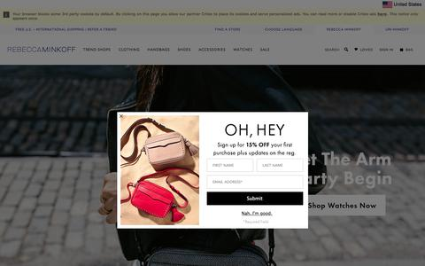 Screenshot of Home Page rebeccaminkoff.com - Rebecca Minkoff Online Store: Handbags, Clothing, Shoes, & Accessories - captured June 16, 2017