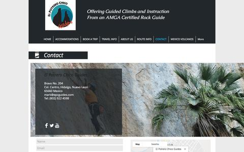 Screenshot of Contact Page elpotrerochicoguides.com - Contact for El Potrero Chico Guides - captured July 17, 2018