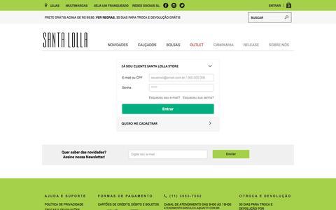 Screenshot of Login Page santalolla.com.br - Cadastre-se ou entre em sua conta para finalizar a compra - captured July 27, 2018