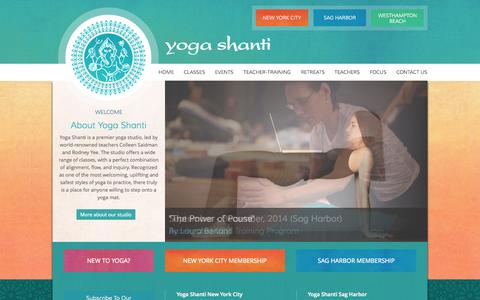 Screenshot of Home Page yogashanti.com - Yoga Shanti :: Premiere Yoga Studio, Founded by Colleen Saidman Yee in New York City and Sag Harbor - captured Sept. 30, 2014
