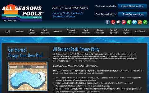 Screenshot of Privacy Page allseasonspools.com - Pool Builders Orlando Privacy Policy | All Seasons Pools - captured Oct. 29, 2014