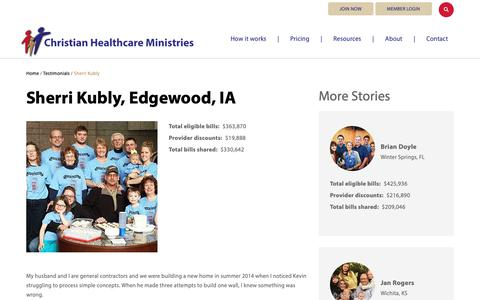 Screenshot of Testimonials Page chministries.org - Edgewood, IA              | Christian Healthcare Ministries - captured May 16, 2019