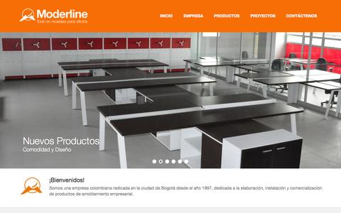 Screenshot of Home Page moderline.com - Moderline® - Todo en muebles para oficinas - captured Oct. 6, 2014