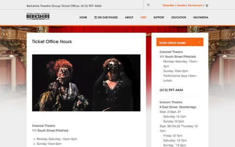 Screenshot of Hours Page berkshiretheatregroup.org - Hours - captured Oct. 10, 2017