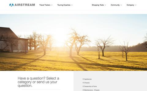 Screenshot of FAQ Page airstream.com - Frequently Asked Questions | Airstream - captured Feb. 18, 2018