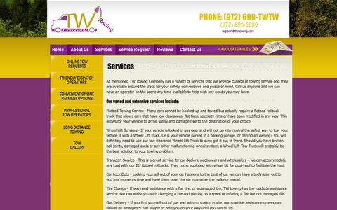 Screenshot of Services Page twtowing.com - Services - Towing Truck Services | Garland, Dallas - captured Oct. 6, 2014