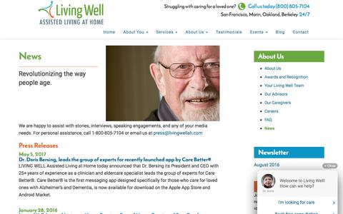 Screenshot of Press Page livingwellah.com - Living Well Assisted Living at Home | News | Marin, San Francisco CA - captured Aug. 23, 2017