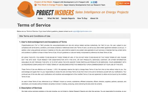 Screenshot of Terms Page projectinsiders.com - Project Insiders - Terms of Service - captured Sept. 30, 2014