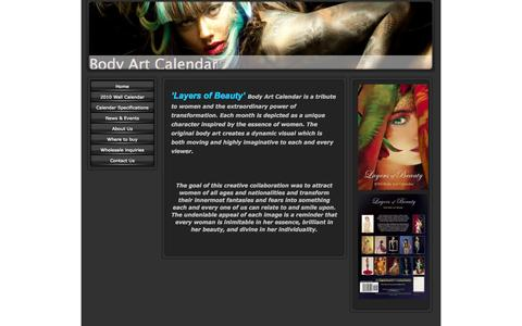 Screenshot of Home Page bodyartcalendar.com - Body Art Calendar - 'Layers of Beauty' 2010 Bodypainting Calendar by Metamorfozo Art - captured Oct. 6, 2014