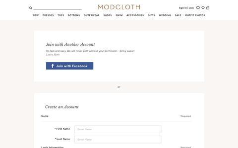 Screenshot of Signup Page modcloth.com - Sites-modcloth-Site - captured Feb. 17, 2017