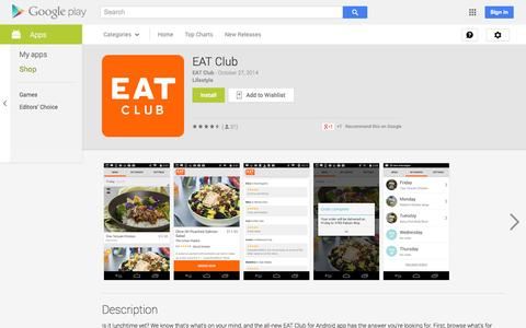 Screenshot of Android App Page google.com - EAT Club - Android Apps on Google Play - captured Oct. 28, 2014