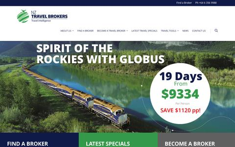 Screenshot of Home Page nztravelbrokers.co.nz - NZ Travel Brokers - captured Aug. 14, 2016