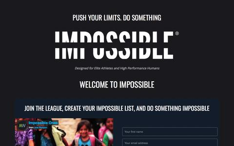 Screenshot of Home Page impossiblehq.com - IMPOSSIBLE ® – Push Your Limits. Do Something Impossible. ➤ IMPOSSIBLE ® - captured July 20, 2019